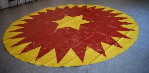 Manegeplane - Zirkusboden - 4 m - rot/gelb - gerändelte Kante
