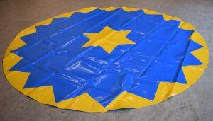 Manegeplane - Zirkusboden - 3 m - blau/gelb - gerändelte Kante