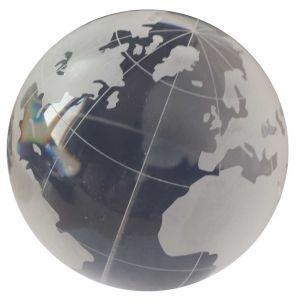 Acrylball - Kristall mit Weltkugel/Globusmuster - 100 mm