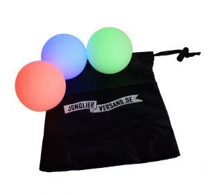 Set aus 3 Wiederaufladbare mulifunktions-LED-Jonglierbällen 70 mm mit Beutel